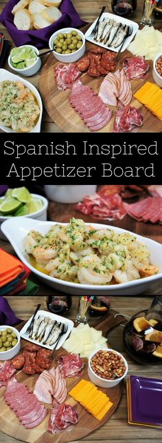 This is a fun and easy Spanish inspired appetizer board to put together for your next holiday party, or for a last minute cocktail party. We keep things simple with meats and cheeses, but we do add a little pizazz with gambas al ajillo, aka garlic shrimp and some sardines in extra virgin olive oil. Then we add some extras: crusty bread, Spanish olives and redskin Spanish peanuts. Serve the delicious appetizers with Sangria for a perfect Spanish inspired party spread you and your guests will…