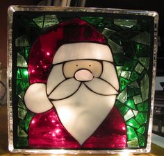 Santa stained glass mosaic block with lights