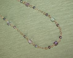Flourite Cube Necklace by ROSjewelrydesign on Etsy