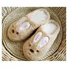 $7.86 Korean Fashion Cute Cartoon Rabbit Patterns Warmly and Comfortable Plush Slippers For Lovers