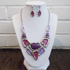 Trendy Enamel Statement Necklace Earrings Jewelry Set