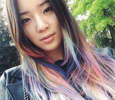 Irene Kim // rainbow hair