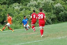 Team America 96 (2014 Kirkwood College Showcase, U19 Gold) vs Hersey 96 Orange Pride (August 2, 2014) -- CJ Chambers #0, Christian Ramirez #9, Connor Gallagher #29 (TAFC96 Soccer)