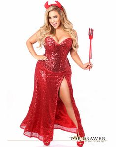 Plus Size Top Drawer Premium Sequin Devil Costume Lingerie store with the biggest selection of lingerie online. Buy bras, panties, chemises, sexy costumes, and clubwear at affordable prices. Corset Costumes, Adult Costumes, Costumes For Women, Devil Halloween Costumes, Devil Costume, Halloween Ideas, Horns Costume, Witch Costumes, Holiday Costumes