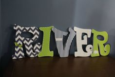 Nursery Wall Letters for Baby Boy - Custom Hanging Letters that spell baby's name - Lime Green/Navy/Elephant Theme