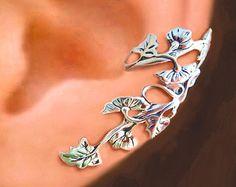 Spring Leaf ear cuff Sterling Silver earrings Leaf di RingRingRing