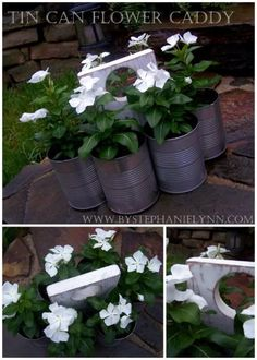 Recycled Tin Can Flower Caddy A Martha Stewart inspired project with six tin cans attached to a wood handle. Be great to move the flowers in and out of the sun! You can attach ten soup cans and use it for an art caddy! Outdoor Crafts, Outdoor Projects, Garden Projects, Tin Can Flowers, Recycling, Recycle Cans, Recycled Tin Cans, Tin Can Crafts, Metal Crafts