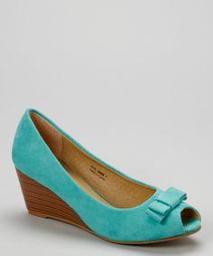 Turquoise Peep-Toe Wedge