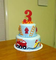 Firetruck Birthday Cake Butter Iced In Buttercream