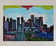 tableau peinture originale urbaine pastel Toronto Islands Canada par celinemodernart sur Etsy