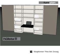 Hulsta Furnplan,bureau met boekenkast,3D tekening studiekamer,slaapkenner theo bot zwaag