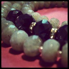 Who said grey was boring?  #grey #blue #gold #necklace #labradorite #glass #beads