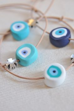 <3 Bracelets for Christening Witness Pins made of polymer clay - eye beads <3