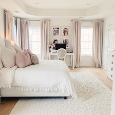Romantic master bedroom with white tufted bed, linen duvet, soft curtains and wh. Romantic master bedroom with white tufted bed, linen duvet, soft curtains and white Orian rug Romantic Master Bedroom, Master Bedroom Makeover, Stylish Bedroom, Bedroom Makeovers, All White Bedroom, White Bedrooms, Master Suite, Teen Bedroom, White Room Decor