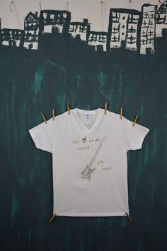 Koszulka Gitara (biało-srebrna)