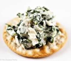 Clean Eating Spinach Dip- low fat cottage cheese, frozen spinach, water chestnuts, onion powder, parsley, garlic powder, salt