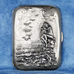 Rare Unger Brothers Silver 925 Cigarette Case with Nude Woman on the Sea