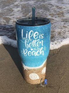 Image result for beach glitter tumbler