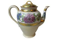 1910-1950 Limoges Art Deco Studio Painted Teapot