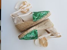 Lace-up espadrille wedges - GREEN COLLECTION - made in spain - www.mumico.es