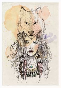 drawings of wolves with girl - Google Search