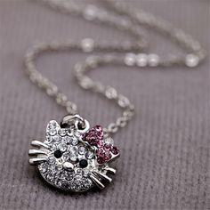 الجملة مرحبا كيتي الأطفال عالية الجودة الكريستال قلادة المجوهرات المفضلة للأطفال هدايا مجوهرات اكسسوارات JP49