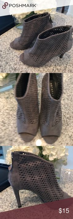 Grey Stilettos- Laser Cut Cute heels in the perfect color for summer/fall! Worn twice, like new! Metaphor Shoes Heels