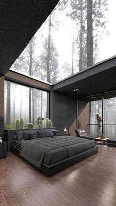 Home Room Design, Dream Home Design, Modern House Design, Home Interior Design, Black Room Design, Modern Glass House, Loft Interior, Dream House Interior, Luxury Homes Dream Houses