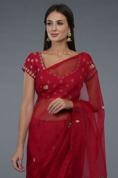 Royal Red Zardozi & Crystal Embroidered Saree & Blouse Hand Work Blouse Design, Blouse Neck Designs, Blouse Styles, Indian Attire, Indian Outfits, Indian Clothes, Indian Wear, Mirror Work Saree, Red Sari
