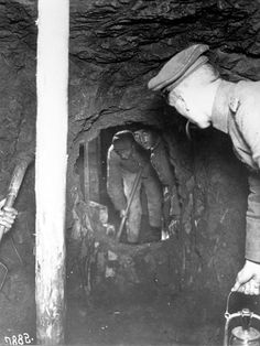 WWI; Sappers builing a mine gallery at the front in Flanders. -Getty