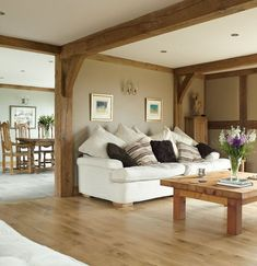 Halfpenny Cottage - Border Oak - oak framed houses, oak framed garages and structures. Cottage Living Rooms, Living Room Green, Cottage Interiors, Home Living Room, Living Room Designs, Living Room Decor, Wooden Floors Living Room, Oak Living Room Furniture, Oak Dining Room