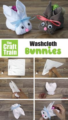 Easy washcloth bunny craft for Easter. This makes a sweet DIY Easter gift idea and is both inexpensive and cute! #Easterbunny #bunnycraft #handmadegifts #easterDIY #eastergiftidea #kidscrafts #craftsforkids #washclothanimals Easy Easter Crafts, Bunny Crafts, Easy Crafts For Kids, Easter Gift, Cute Easter Bunny, Small Gifts, Train, Seasons, Crafty