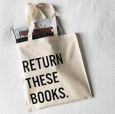 Handmade Return These Books Tote Bag - Custom Tote Bag - Library Bag - Custom Library Tote Bag Book Lovers Gifts, Gift For Lover, Funny Throw Pillows, Library Bag, Gifts For Bookworms, Custom Tote Bags, Black Tote, Cotton Bag, Book Nerd