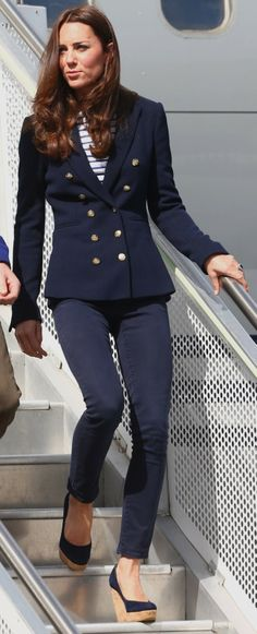 "The Duchess arrives in Auckland, NZ for a yacht race against Prince William wearing J Brand pants, a Zara blazer, a ME+EM ""Breton Top"", Kiki ""Grace"" stud earrings, and Stuart Weitzman ""Corkswoon"" wedges."