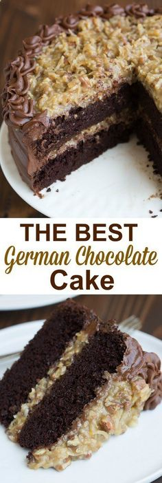 The BEST homemade German Chocolate Cake with layers of coconut pecan frosting and chocolate frosting. This cake is incredible! | tastesbetterfroms...