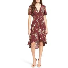 Women's Astr Floral Print Wrap Dress ($110) ❤ liked on Polyvore featuring dresses, burgundy multi floral, botanical dress, burgundy dress, red dress, floral wrap dress and floral day dress
