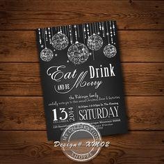 PRINTABLE CHRISTMAS INVITATION, Xmas Invitation, Chalkboard, Holiday Invitation, Printable, , Christmas, Dinner Invitation, Christmas Invite Christmas Party Invitations, Dinner Invitations, Invites, Christmas Printables, Chalkboard, Xmas, Etsy Shop, Messages, Art Market