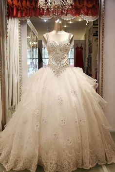 Luxury Rhinestone Flare Crystal Bead Handmade Wedding Dresses Custom Made Real Photos Gown Free Shipping