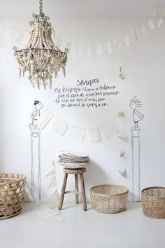 It would be fun to craft a chandelier out of a wire frame, even a tomato cage, and Model Magic. Pale, white, and neutral, always great at Sukha in Amsterdam. december 2013