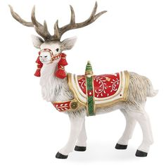Fitz and Floyd Macy's Exclusive Poinsettia Santa Deer Figurine ($60) ❤ liked on Polyvore featuring home, home decor, holiday decorations, multi, old world santa claus figurines, santa figure, fitz and floyd, father christmas figure и deer home decor