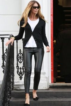 Elle Mcpherson Leather leggings - how to, never ending amount of leather pants, not ever even thinking to use her power look to help animals skined for her pants and marant pumps. no heart
