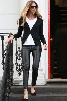Elle Mcpherson  Leather leggings - how to
