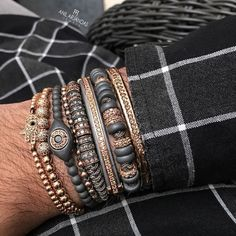 Fashion Macrame Bracelets, Rose Gold Micro Pave Champagne CZ Stoppers Beads Briading Macrame Bracelet For Men Jewelry