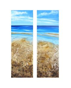 Golden Sands - Acrylic, sand and ink diptych by Liz James
