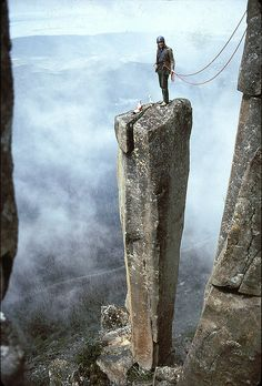 Lyle Closs on Albert's Tomb, Organ Pipes, Mt. Wellington, Tasmania Australia 1974. Photo by Stefan Karpiniec.