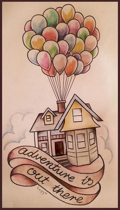 Up house drawing in coloured pencils disney tattoo quotes, disney tattoos ideas, cute disney Easy Doodles Drawings, Pencil Art Drawings, Art Drawings Sketches, Pencil Sketching, Tattoo Sketches, Pencil Sketch Art, Cute Disney Drawings, Disney Sketches, Drawing Disney