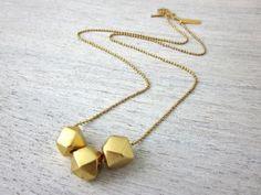 collier 3 perles doré de Shlomit Ofir