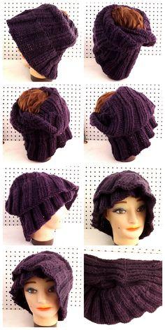 Knit Hair Wrap Kerchief Scarf in Purple