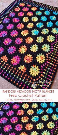 Crochet Motif Rainbow Hexagon Motif Blanket Free Crochet Pattern - All the best free crochet patterns. Crochet Afghans, Quick Crochet Blanket, Crochet Hexagon Blanket, Crochet For Beginners Blanket, Afghan Crochet Patterns, Crochet Motif, Crochet Yarn, Crochet Flowers, Free Crochet
