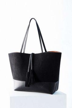 BDG Suede + Vegan Leather Tassel Tote Bag